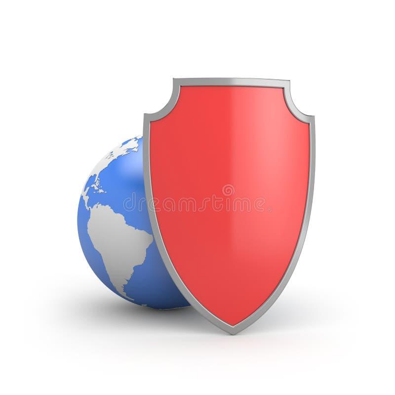 Proteja el mundo o la protección global stock de ilustración