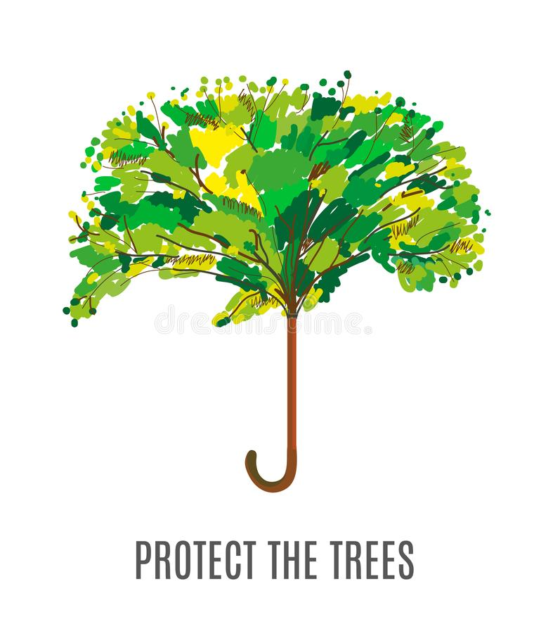 Proteja los árboles y el ejemplo con el paraguas, diseño incompleto del ambiente libre illustration