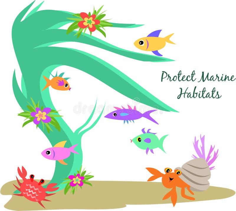 Proteja los habitat marinas libre illustration
