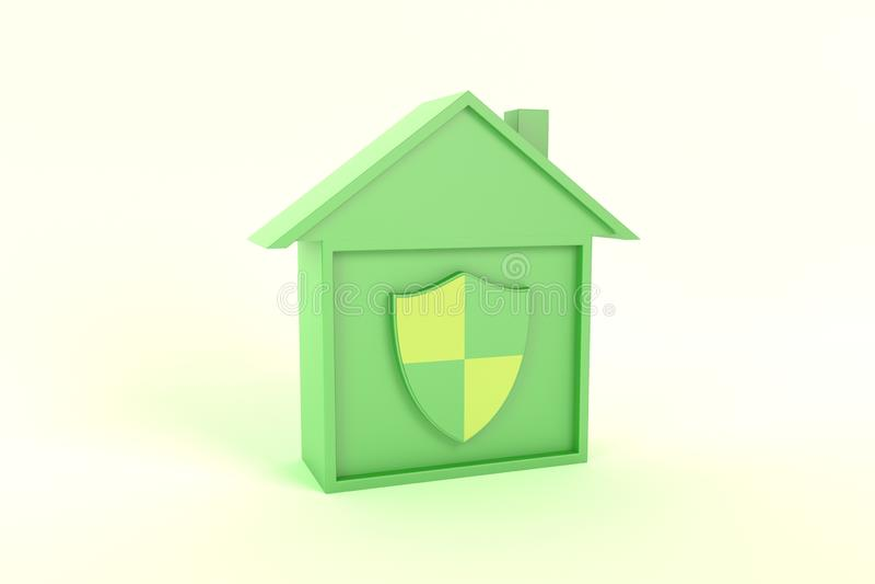 Proteja o verde esperto da ilustração do ícone da casa, opinião de perspectiva ilustração stock