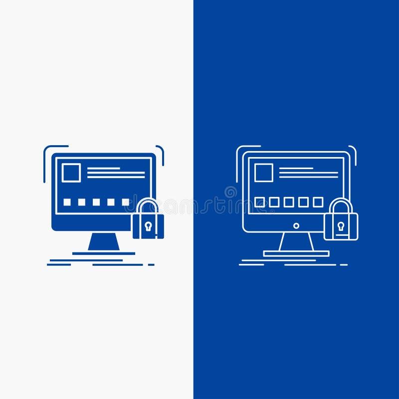 proteja, protección, cerradura, seguridad, botón de la web segura de la línea y del Glyph en la bandera vertical del color azul p ilustración del vector