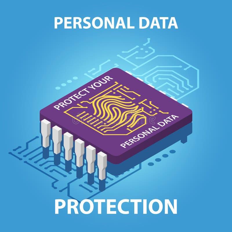 Proteja su ejemplo isométrico personal del concepto del vector de datos fotos de archivo libres de regalías