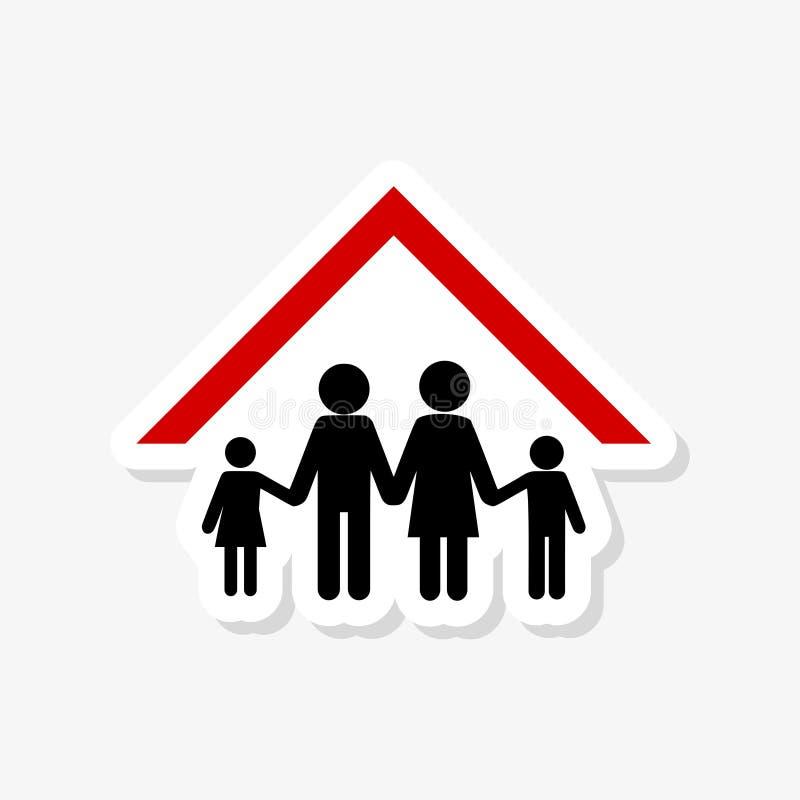Proteja sua família, etiqueta home do telhado ilustração do vetor