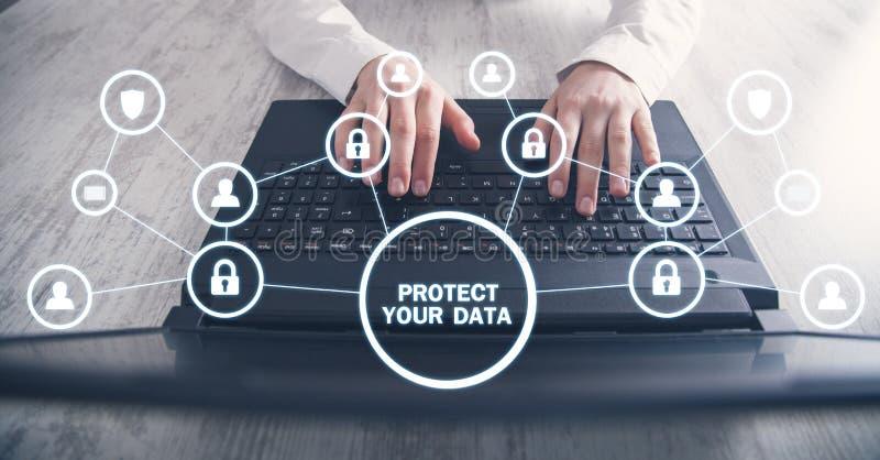 Proteja sus datos concepto de seguridad cibern?tica imagenes de archivo