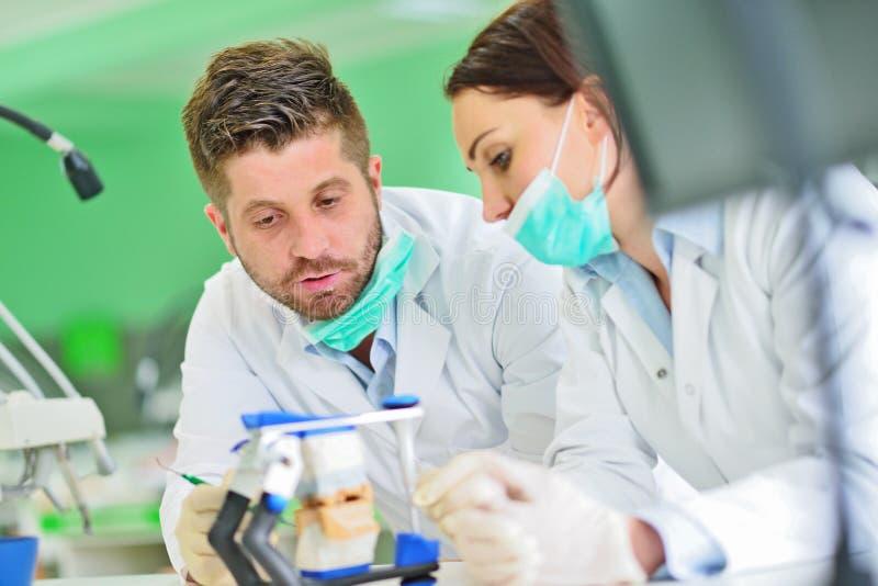 Protesi dentaria, protesi dentarie, attività di protesi Mani di protesi mentre lavorando alla protesi dentaria fotografie stock