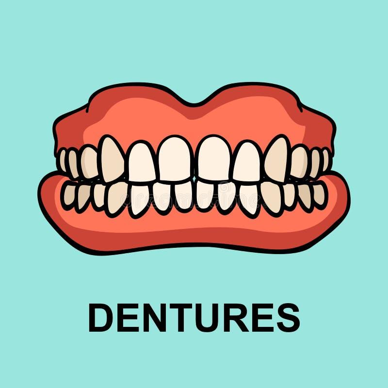 Protesi dentaria, segno di ortopedia del dente illustrazione vettoriale