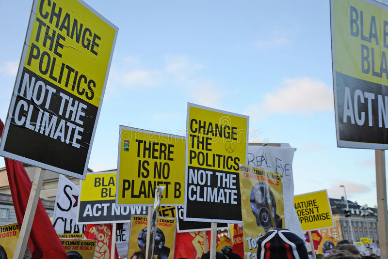 The protest. Global warming demonstration and banners stock image