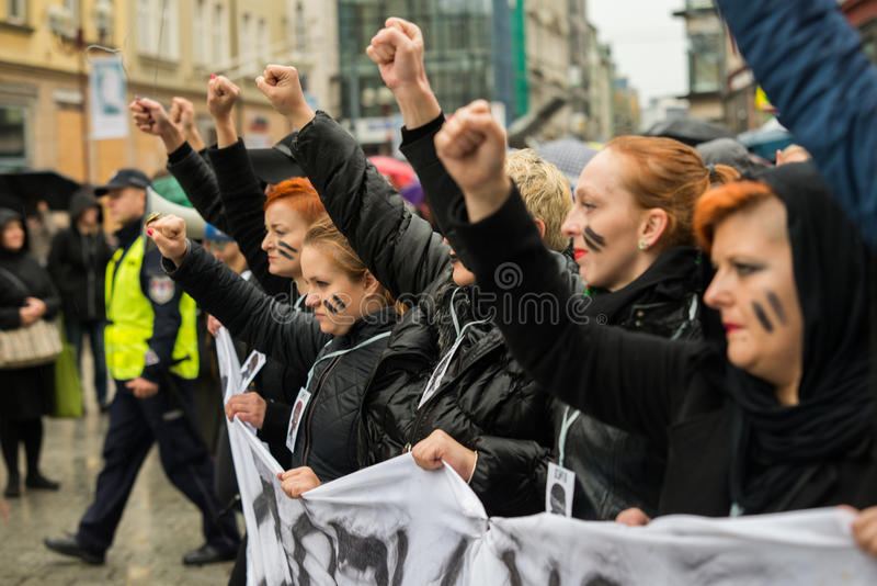 Protest against anti-abortion law forced by Polish government PIS, black protest. Wroclaw, Poland, 2016 10 03 - protest against anti-abortion law forced by royalty free stock photos