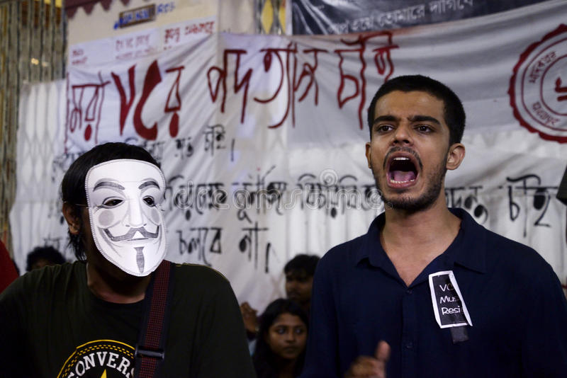 Protest Against Assault. Jadavpur University student organised a protest torch rally protesting against police assault in midnight and demanding Vice Chancellor royalty free stock photo