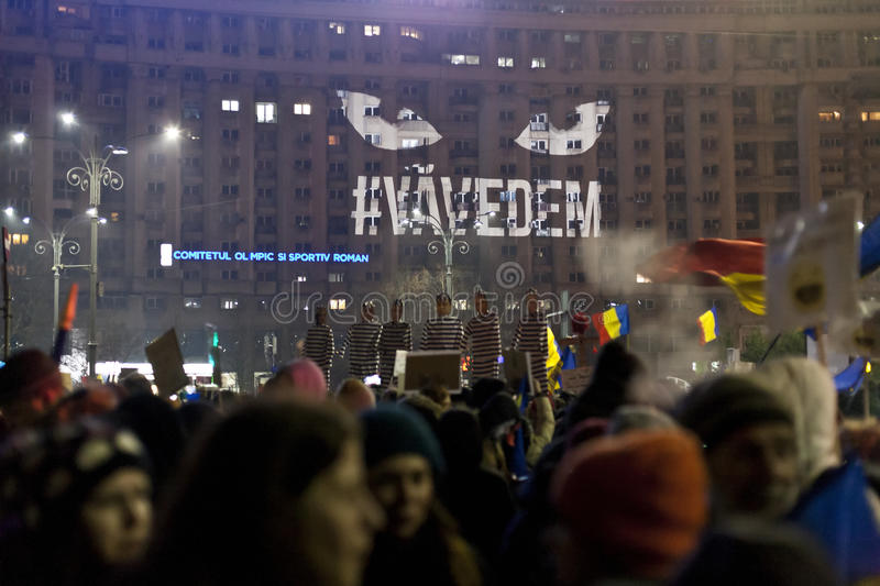 Protest against corruption reforms in Bucharest. People protesting against corruption reforms in Bucharest on 05.02.2017 stock photos