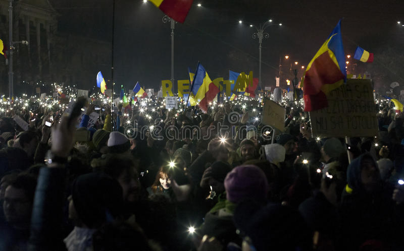 Protest against corruption reforms in Bucharest. People protesting against corruption reforms in Bucharest on 05.02.2017 stock photography