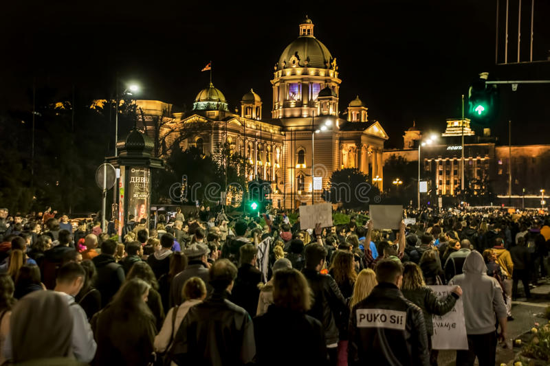 Protest against election of premier Aleksandar Vucic as president, Belgrade. Serbia stock photography