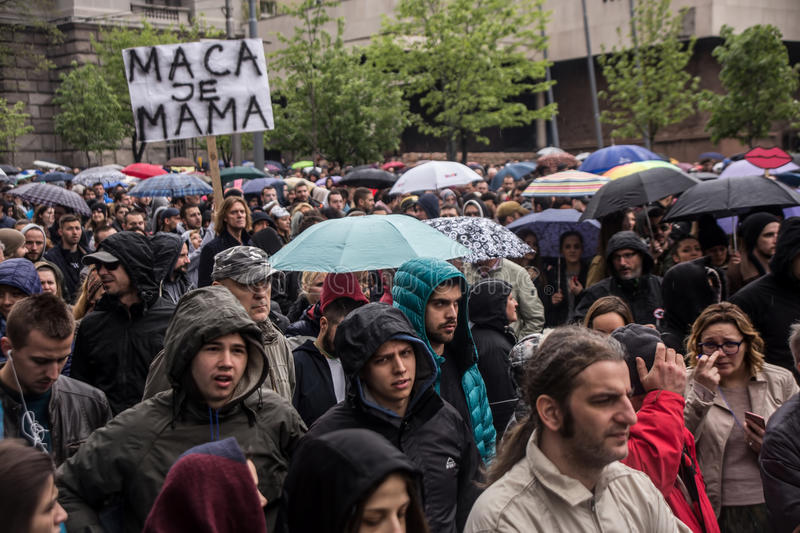 Protest against election of premier Aleksandar Vucic as president, Belgrade. Serbia stock photos