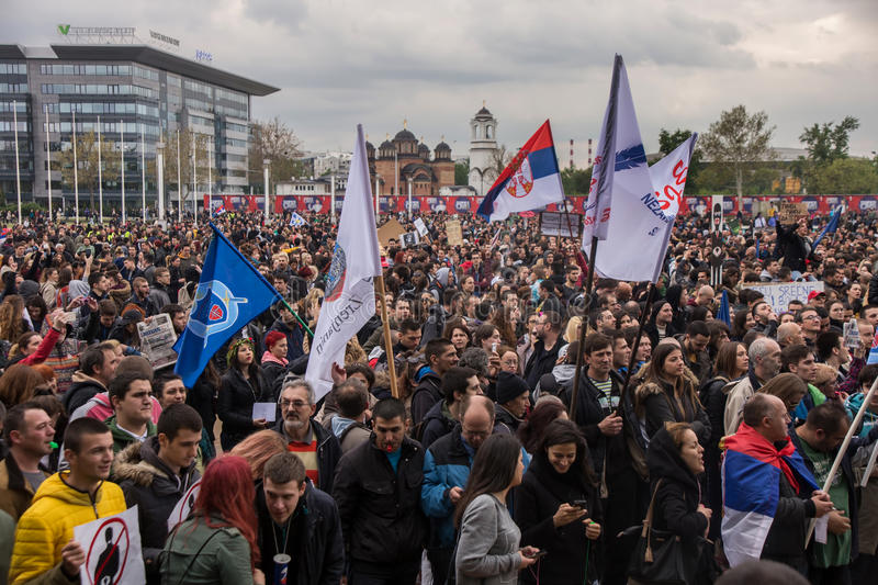 Protest against election of premier Aleksandar Vucic as president, Belgrade. Serbia stock images