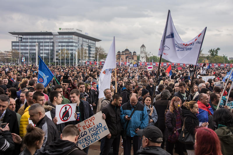 Protest against election of premier Aleksandar Vucic as president, Belgrade. Serbia royalty free stock photography