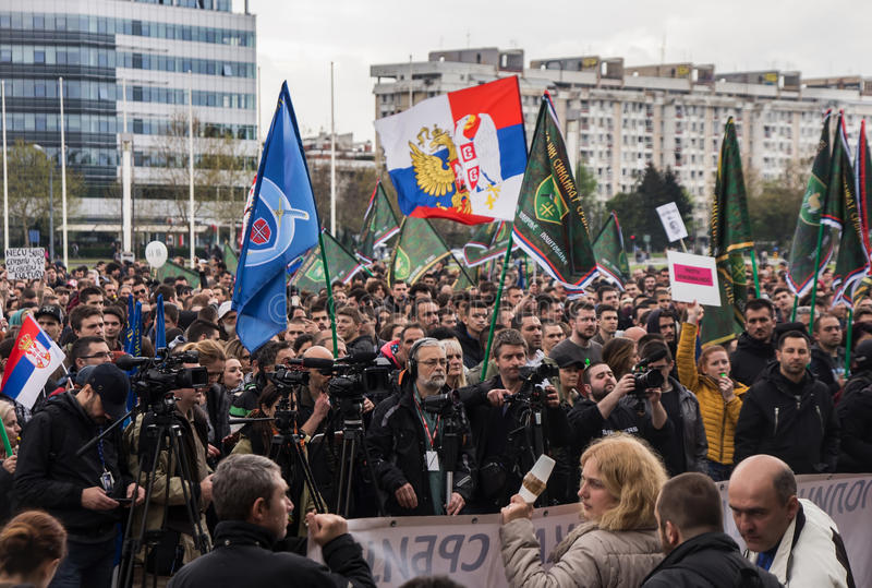 Protest against election of premier Aleksandar Vucic as president, Belgrade. Serbia royalty free stock images