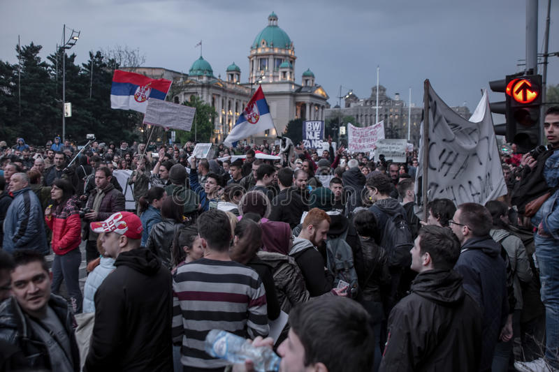 Protest against election of premier Aleksandar Vucic as president, Belgrade. Serbia royalty free stock photos