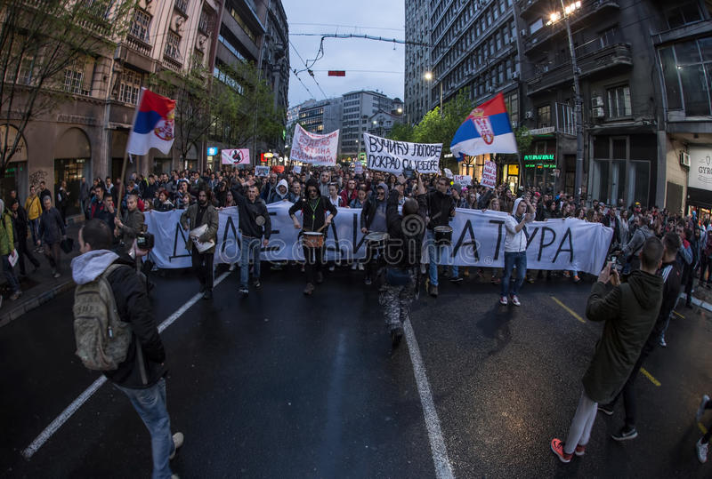 Protest against election of premier Aleksandar Vucic as president, Belgrade. Serbia royalty free stock image