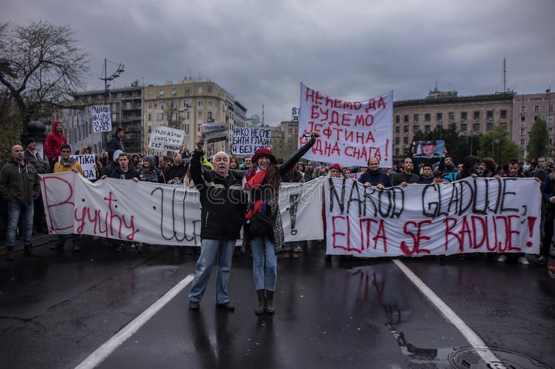 Protest against election of premier Aleksandar Vucic as president, Belgrade. Serbia stock photo