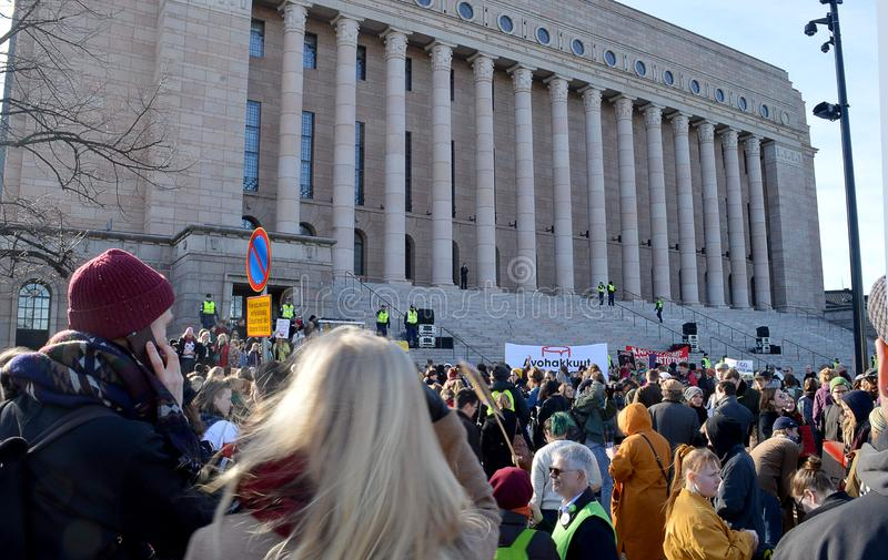 Protest against governmment inaction on climate change, Helsinki, Finland. HELSINKI, FINLAND - 6 APRIL 2019: Ahead of Finland`s general election, 10,000 marched stock photo