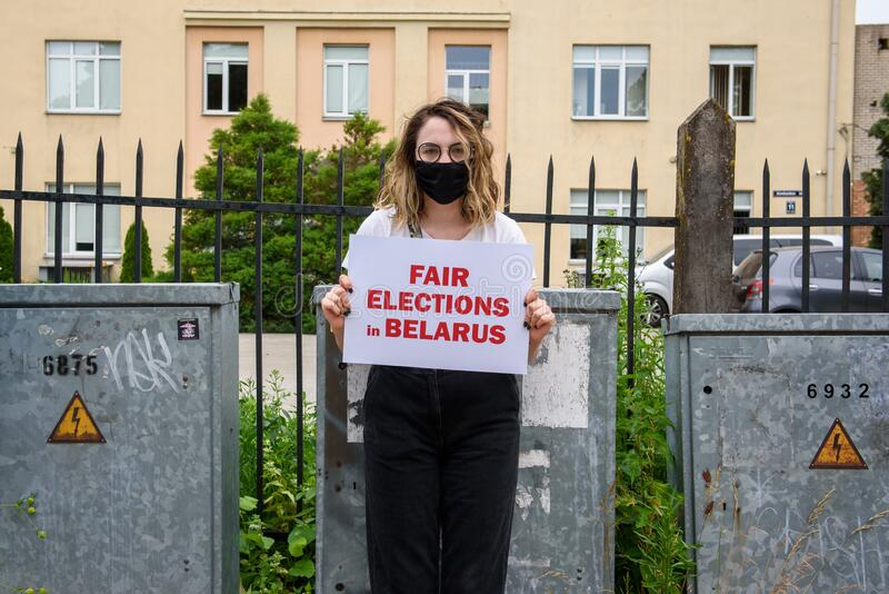 Protest against ongoing repressions in Belarus and call for free and fair elections  during upcoming Belarus President election. stock photos