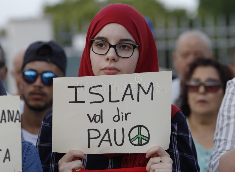 Protest against terrorist attacks on the Ramblas of Barcelona. People of the Muslim community of Mallorca protest against terrorism royalty free stock photo