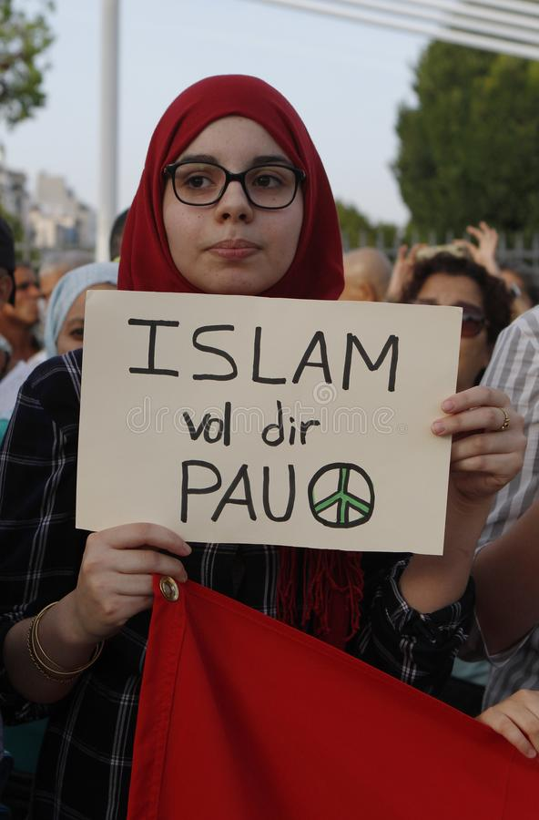 Protest against terrorist attacks on the Ramblas of Barcelona. People of the Muslim community of Mallorca protest against terrorism royalty free stock image