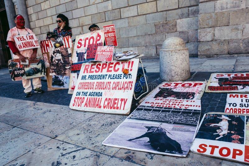 Protest in Barcelona stockfotos