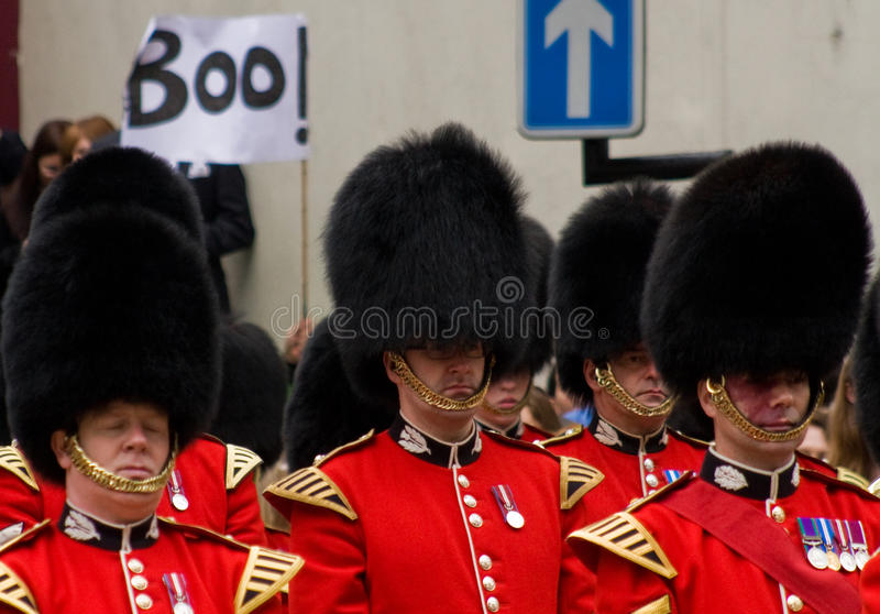 Protest at Baroness Thatcher's funeral royalty free stock photography