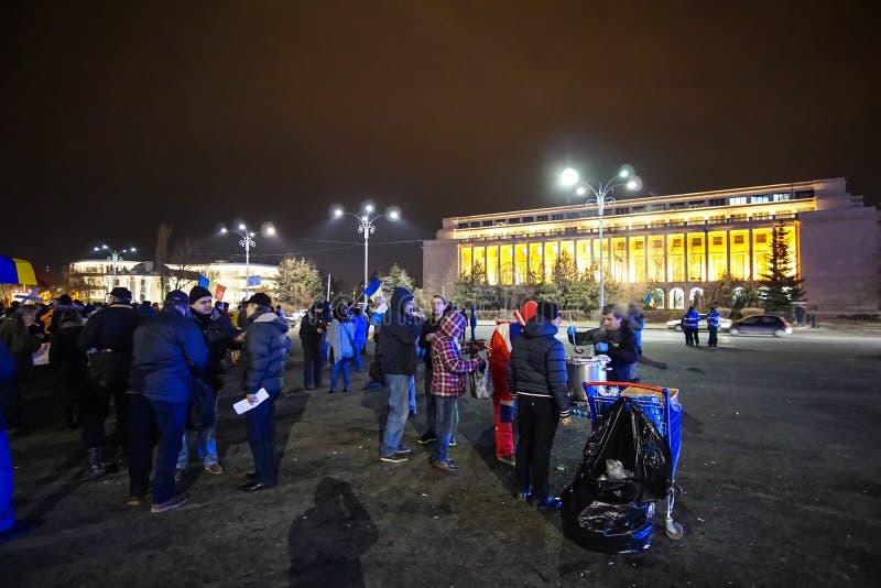 Protest in Boekarest, Roemenië royalty-vrije stock foto