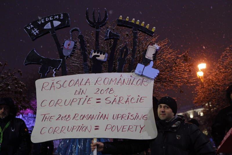 PROTEST IN BOEKAREST TEGEN CORRUPTIE stock fotografie