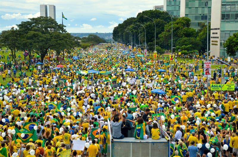 Protest in Brasilia - Brazilië royalty-vrije stock afbeeldingen