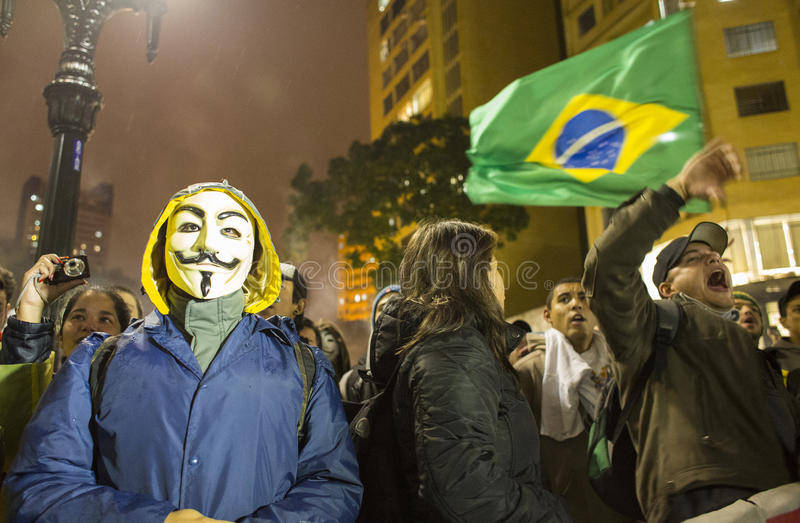 Protest in Brasilien stockfotografie