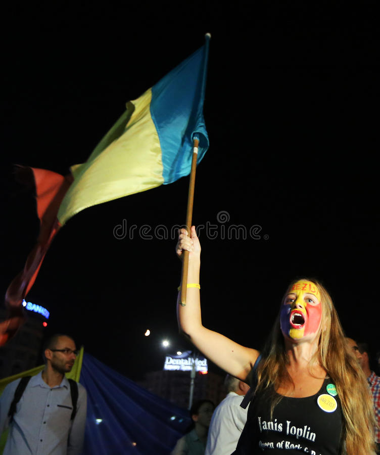 Protest in Bucharest stockbilder