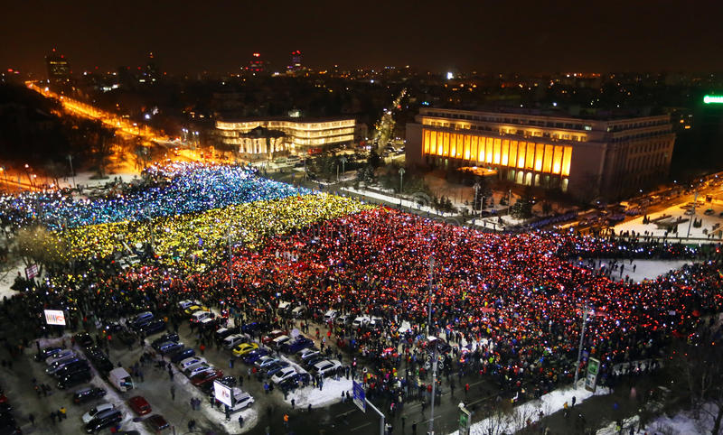Protest in Bucharest, Romania. Protesters took to the streets the 13th day in a row with over 50.000 people demonstrating against corruption reforms gathered in