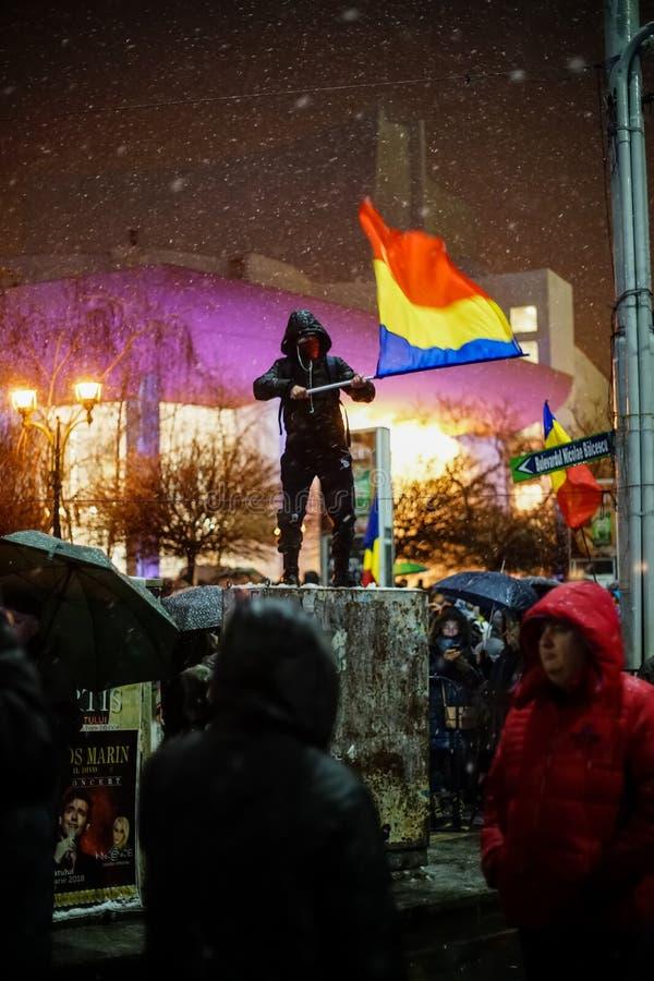 Protest in Bukarest, Rumänien lizenzfreie stockfotos