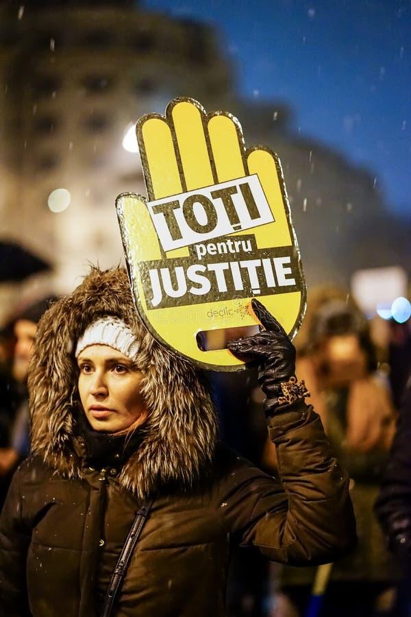 Protest in Bukarest, Rumänien stockbilder