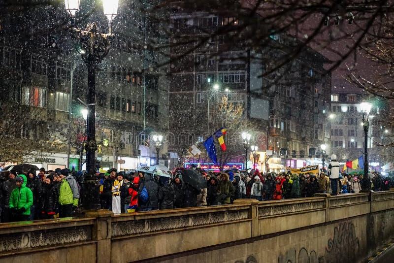 Protest in Bukarest, Rumänien stockfotos
