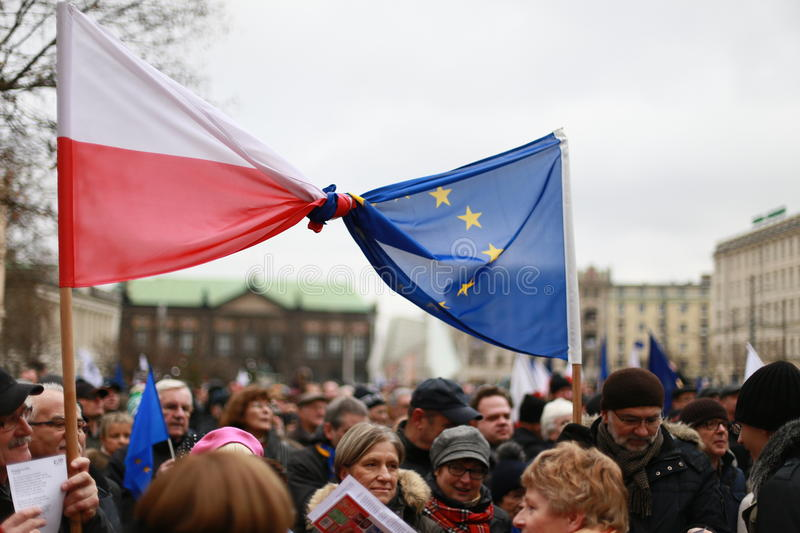 European union and polish flag tied in one, The protest Committee the Defense of Democracy(KOD), Poznan, Poland stock photography