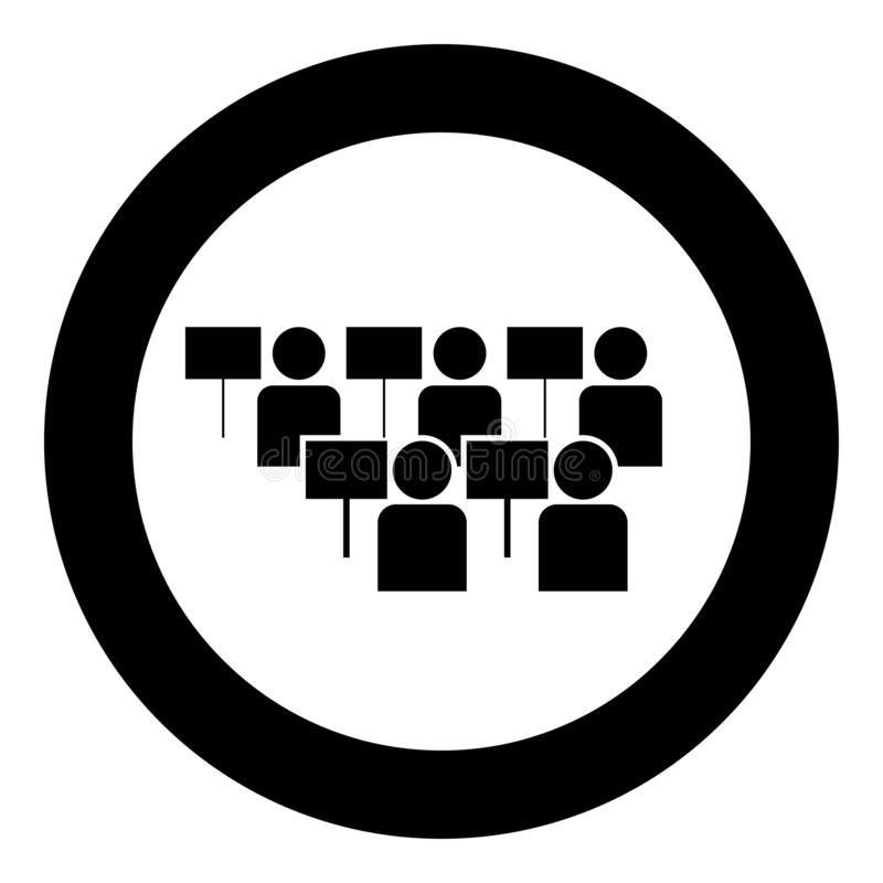 Protest concept Demonstration Crowd of protesters people Revolution idea Social problem icon black color illustration in circle. Protest concept Demonstration vector illustration