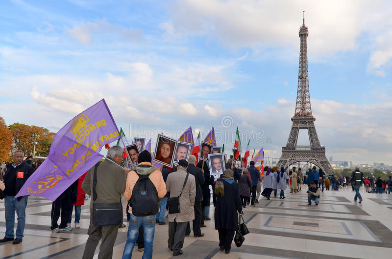 Protest concerning abusive imprisonment in Iran. PARIS FRANCE OCTOBER 12: Protest concerning abusive imprisonment in Iran. On october 12 2013 in Paris France royalty free stock photography