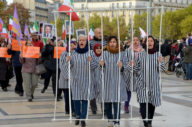 Protest concerning abusive imprisonment in Iran. PARIS FRANCE OCTOBER 12: Protest concerning abusive imprisonment in Iran. On october 12 2013 in Paris France stock photography