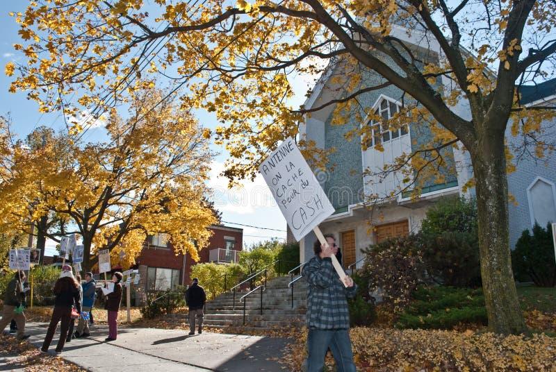 Protest des Instalation der Handy-Antenne lizenzfreies stockbild