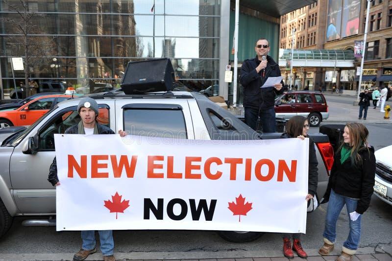 Protest des kanadischen Wahlbetrugs stockbild