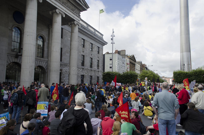 Protest in Dublin, Ierland. royalty-vrije stock fotografie