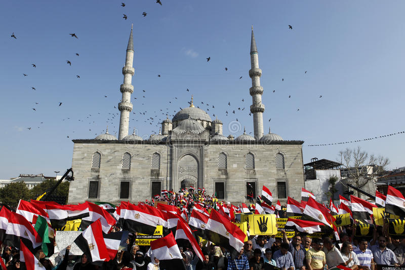 Protest for Egypt military crackdown in Istanbul,T. ISTANBUL, TURKEY- AUGUST 17: Thousands of people gathered to protest the recent deadly military crackdown in stock photography