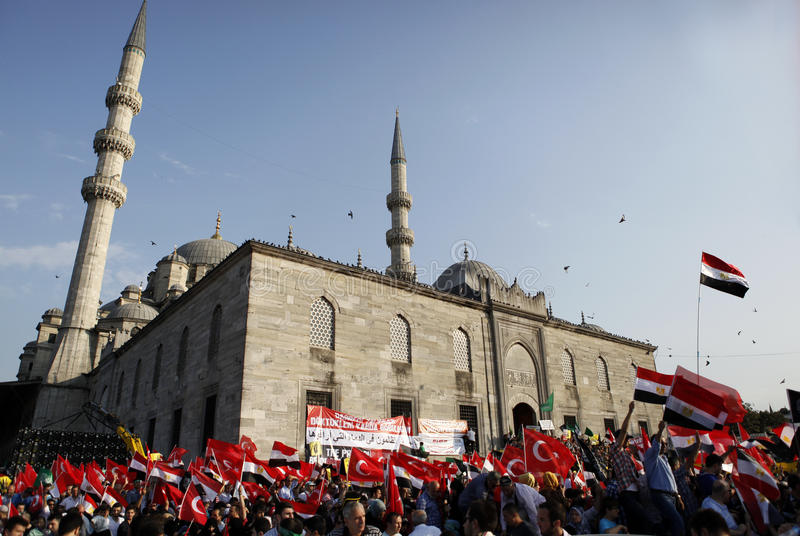 Protest for Egypt military crackdown in Istanbul,T. ISTANBUL, TURKEY- AUGUST 17: Thousands of people gathered to protest the recent deadly military crackdown in royalty free stock photos