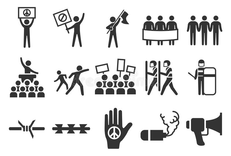 Protest en relpictogrammen royalty-vrije illustratie