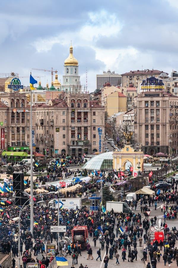 Protest on Euromaydan in Kiev against the president Yanukovych. KIEV, UKRAINE - 2 DECEMBER: Protest on Euromaydan in Kiev against the president Yanukovych didn't stock photo