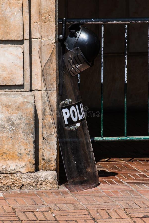 Protest för arbetares rätter Bogota Colombia Januari 2016 royaltyfri bild